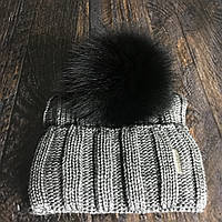 Бубон (помпон) Мех натуральный песец черный 17-21 см.