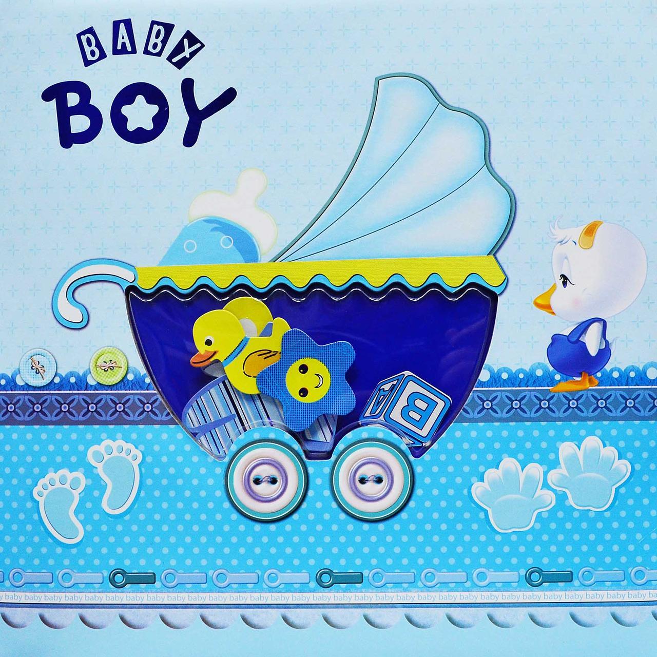 Фотоальбом с Анкетой BABY BOY | Детский альбом для новорожденнго с анкетой и местом для отпечатков