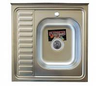 Накладная кухонная мойка Platinum 60*60 (cм) в покрытии satin (матовая), с толщиной 0,7 (мм) Правая, фото 1