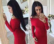 Ангоровое жіноче плаття червоне,спущені плечі, довгий рукав