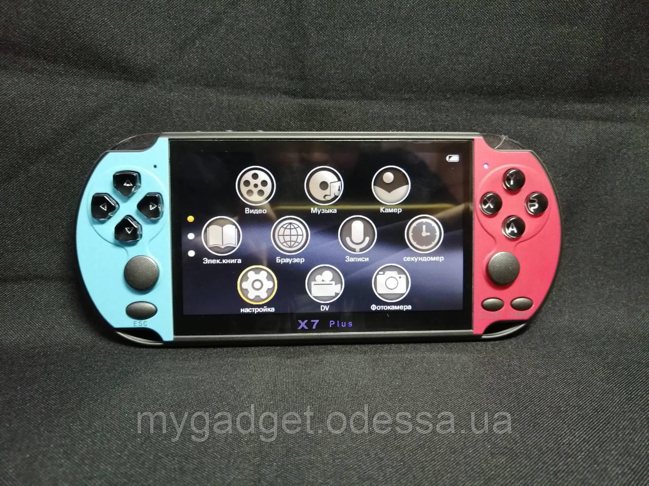 Портативная приставка PSP X7 Plus Голубой + Красный 8GB / 9999 игр встроенно