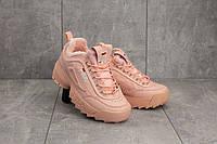 Кроссовки женские Ditof 1655 -142 розовые (эко-кожа, зима)