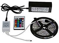 Светодиодная LED лента 5м с блоком питания и пультом SMD 5050 300 RGB