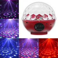 Вращающийся Диско Шар на аккумуляторе светодиодный Charging Crystal Magic Ball Stage Light Bluetooth Красный
