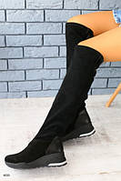 Демисезонные высокие черные замшевые сапоги-чулки