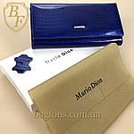 Кошелёк женский кожаный лаковый на магните Mario Dion ( 801A) разные расцветки синий, фото 3