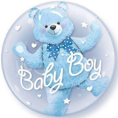 Воздушные прозрачные шары с гелием, имеющие объёмного мишку внутри, с надписью *Baby Boy*, *Baby Girl*