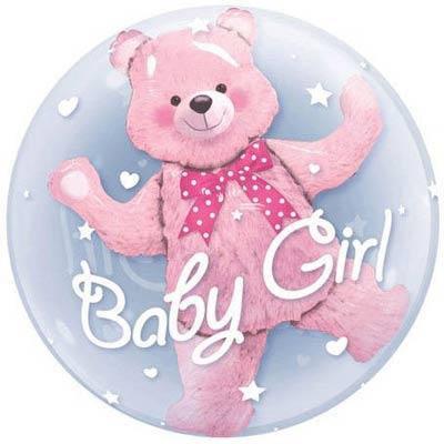 Воздушные прозрачные шары с гелием, имеющие объёмного мишку внутри, с надписью *Baby Boy*, *Baby Girl*, фото 2