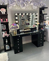 Комплект  стол для визажиста с витриной  + две высокие, напольные полки, черного цвета