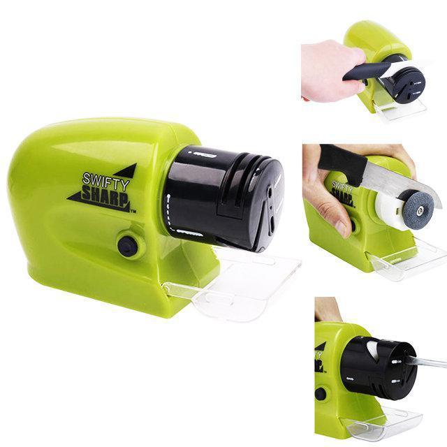 Безпроводная электрическая точилка Swifty Sharp Sharpener универсальная для ножей и ножниц Зеленая