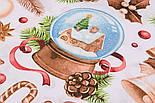 """Ткань новогодняя """"Волшебный шар и рождественские колокольчики"""" на белом, №2472, фото 5"""