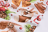 """Ткань новогодняя """"Волшебный шар и рождественские колокольчики"""" на белом, №2472, фото 9"""