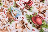"""Ткань новогодняя """"Волшебный шар и рождественские колокольчики"""" на белом, №2472, фото 10"""