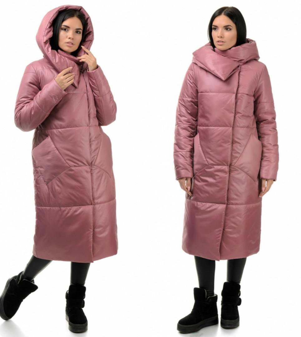 Теплая стильная зимняя женская куртка-одеяло с капюшоном, розового цвета