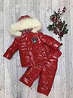 Детский красный зимний комбинезон Микки для девочки 86 см