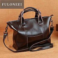 Коричневая  кожаная сумка женская , натуральная кожа , сумки классика кофе цвет, фото 1