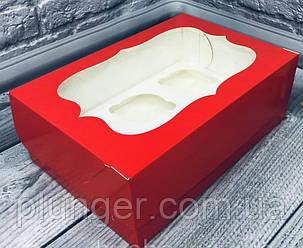Коробка для капкейків червона з вікном, на 6 шт. мілований картон Червоний