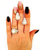Серебряный комплект украшений 925 проба с натуральным жемчугом и кубическим цирконием