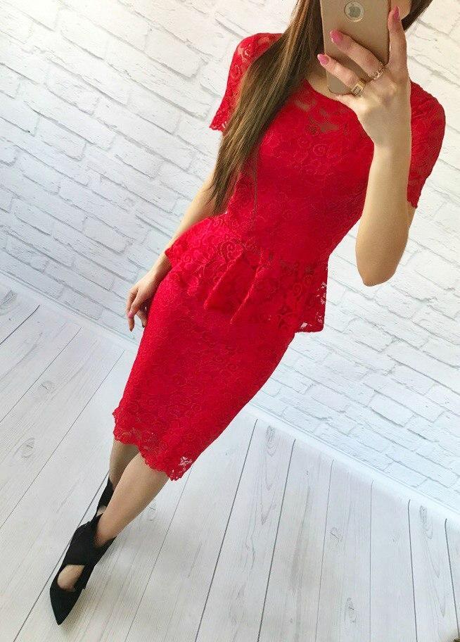 Женский костюм: кофта-баска + юбка с набивного гипюра