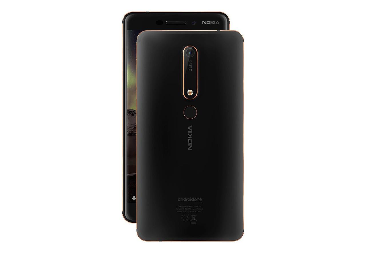 Задняя крышка Nokia 6.1 Dual Sim TA-1043/TA-1050, черная, с шлейфом сканера отпечатка пальца, Оригинал