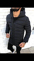 Куртка мужская демисезонная зимняя  с капюшоном стильная чёрная на синтепоне