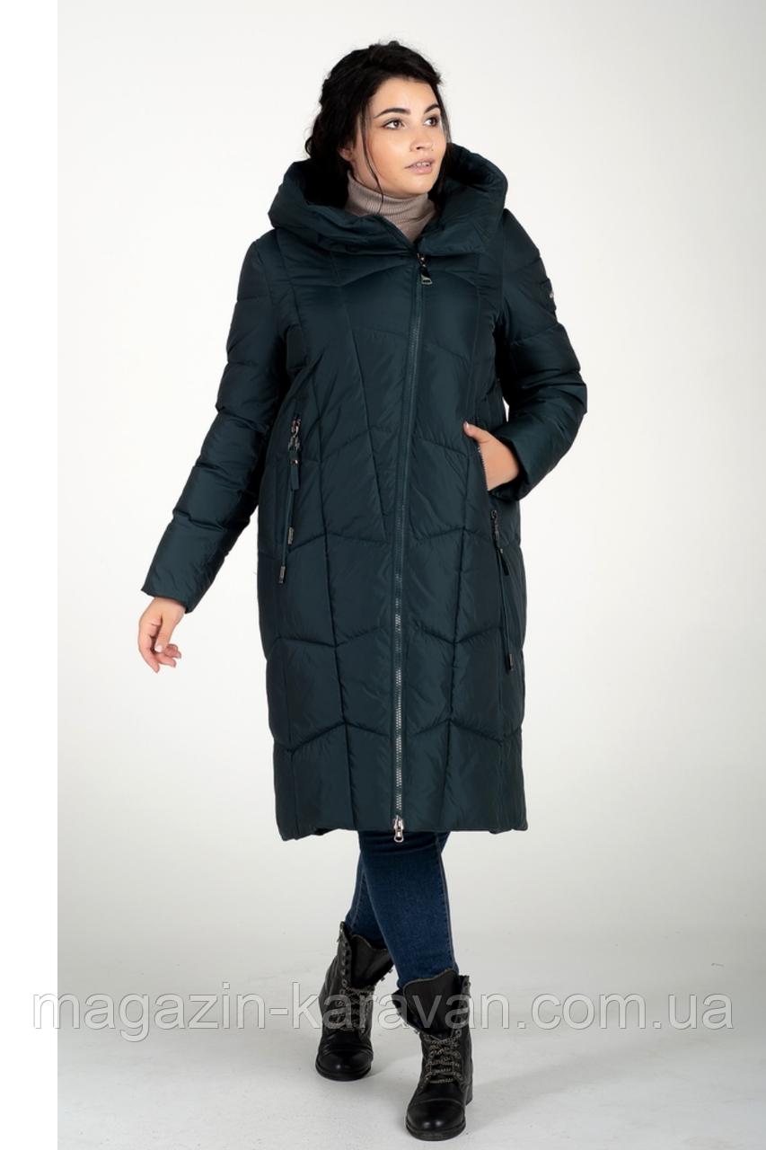 Зимняя длинная куртка женская (зелёный)