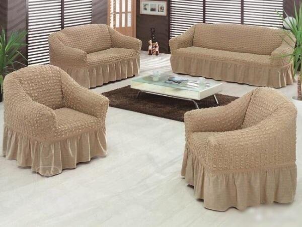 Чехол на диван и два кресла универсальный Golden Кремовый