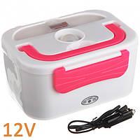 Ланч бокс 1.05 л с подогревом электрический от прикуривателя Electric Lunch Box Розовый