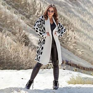 Вязаное пальто с леопардовым принтом Лео лен