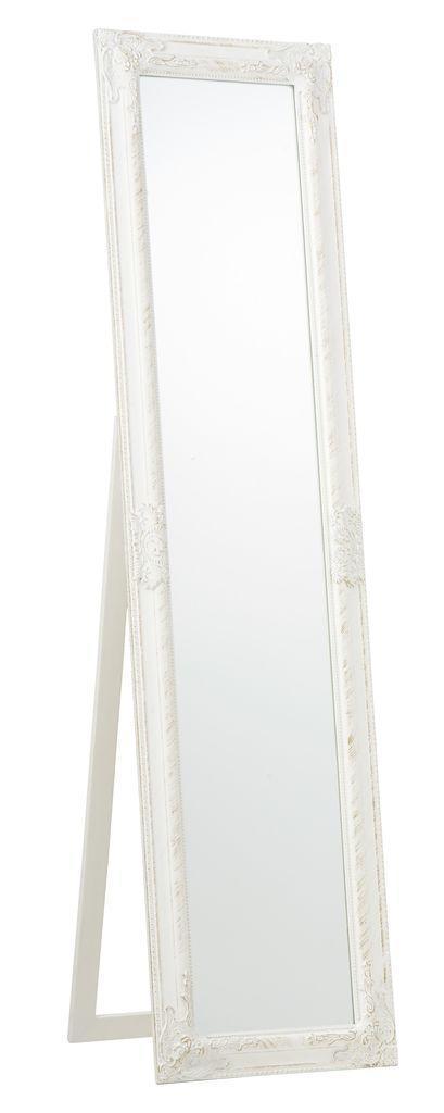 Напольное большое зеркало с ножкой 160 см белое