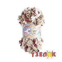 Alize Puffy Fine Color №6040 молочно-бежево-красный