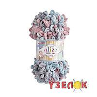 Alize Puffy Fine Color №6041 серо-персиково-голубой