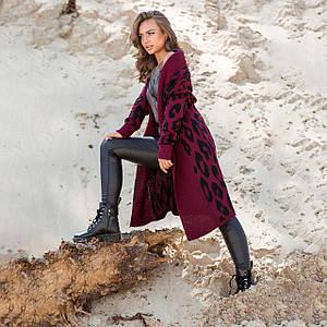 Вязаное пальто с леопардовым принтом Лео марсала