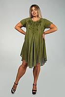 Оливковое платье - разлетайка (ламбада) с рукавом, с вышивкой, на 50-60 размеры, фото 1