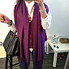Женский шарф палантин длинный кашемировый, фиолетовый, опт