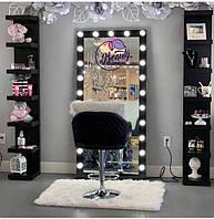Комплект  высокое зеркало для визажиста  + две высокие, напольные полки, черного цвета