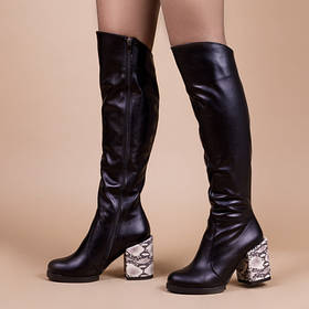 Высокие сапоги кожаные широкий каблук 9 см черные кожа натуральная размеры от 36 до 41