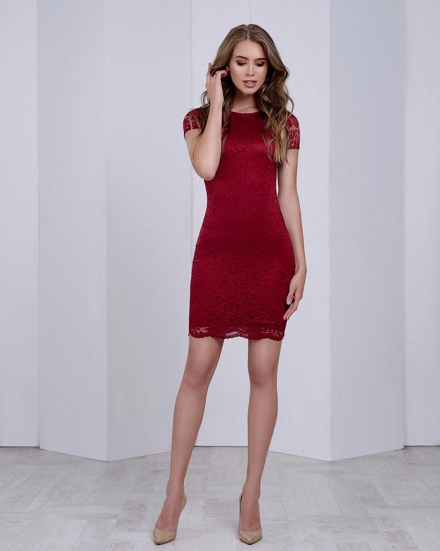 Женское кружевное платье  с короткими рукавами, 6 цветов с 40 по 46рр