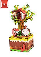 Музыкальная шкатулка деревянный конструктор «Домик на дереве» Robotime