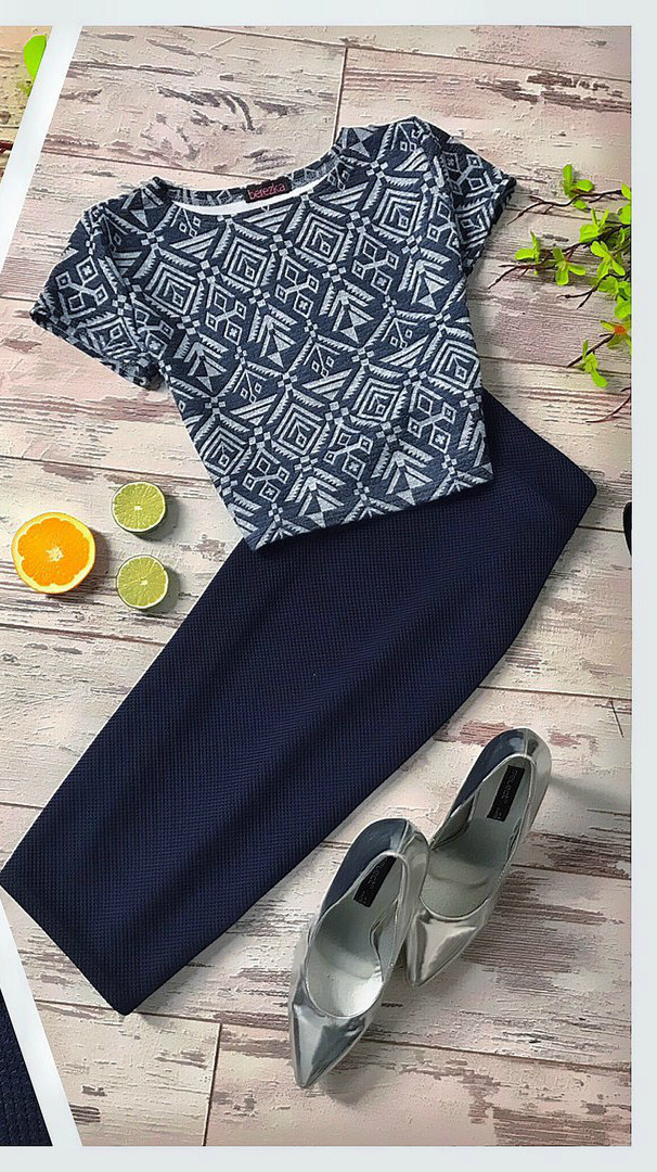 Костюм топ принт: иероглифы+юбка-карандаш материал кукуруза черный