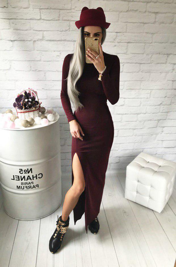 Молодежное платье в пол с разрезом бордо