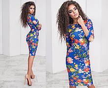 Жіноче плаття класика яскравий принт квіти на синьому