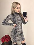 Стильное ангоровое платье-гольф, стильный принт питон, три расцветки (40-46), фото 2