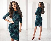 Трикотажне жіноче плаття міді, стильний принт - клітина, 2 кольори
