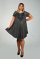 Серое платье - разлетайка (ламбада) с рукавом, с вышивкой, на 50-60 размеры, фото 1