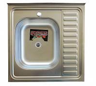 Накладная кухонная мойка Platinum 60*60 (cм) в покрытии satin (матовая), с толщиной 0,5 (мм) Левая, фото 1