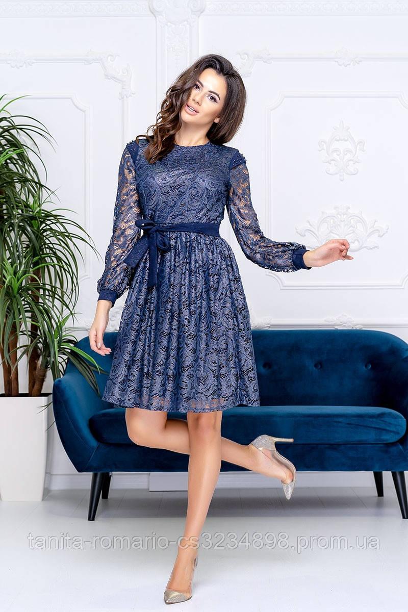 Коктейльное платье 9183e Синий S M L