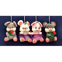 Мягкая игрушка Мышка с цветком (21 см) №H-29