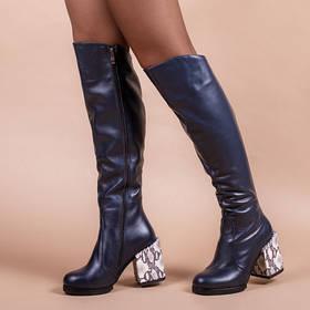 Высокие сапоги кожаные широкий каблук 9 см синие кожа натуральная размеры от 36 до 41
