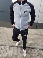 Костюм мужской зимний с капюшоном Nike серый с черным (реплика) - S, M